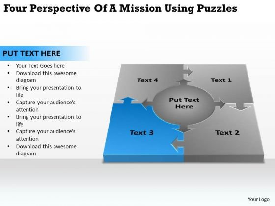 Of A Mission Using Puzzles Business Plan For Non Profit Organization PowerPoint Slides