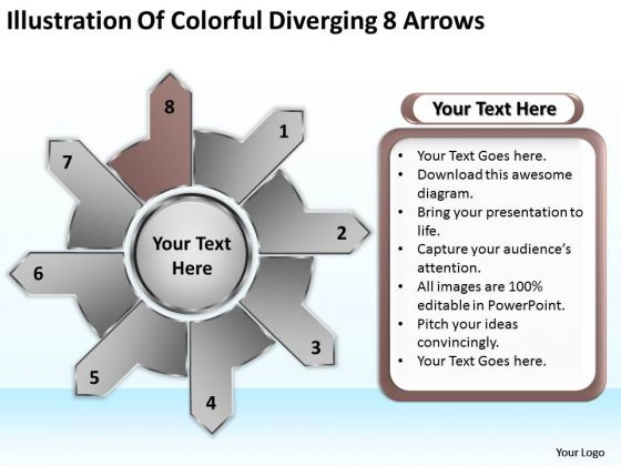Of Colorful Diverging 8 Arrows Relative Circular Flow Process PowerPoint Slides