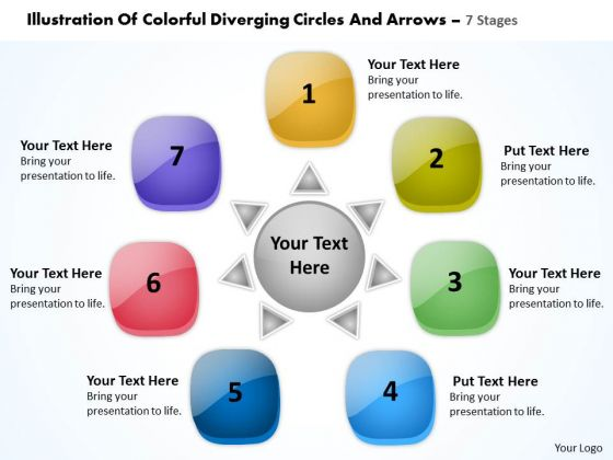 Of Colorful Diverging Circles And Arrows 7 Stages Pie Network PowerPoint Templates