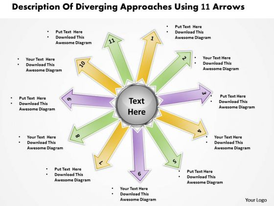 Of Diverging Approaches Using 11 Arrows Ppt Circular Motion Chart PowerPoint Templates