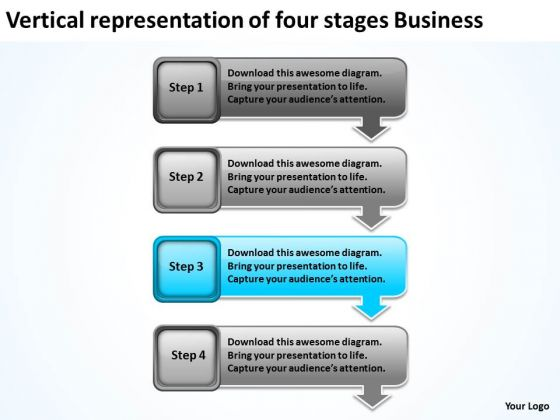 Of Four Stages Business Free Non Profit Plan Template PowerPoint Slides
