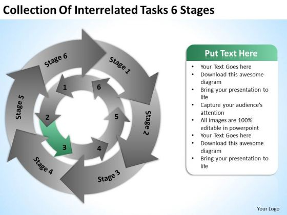 Of Interrelated Tasks 6 Stages Ppt 10 Small Business Plan Template Free PowerPoint Slides