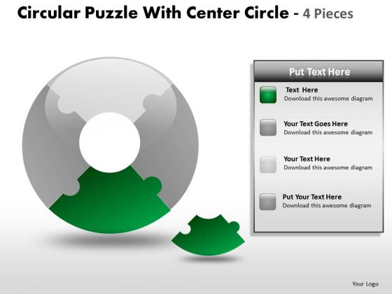 One Fourth Donut Chart PowerPoint Templates And Puzzle PowerPoint Slides