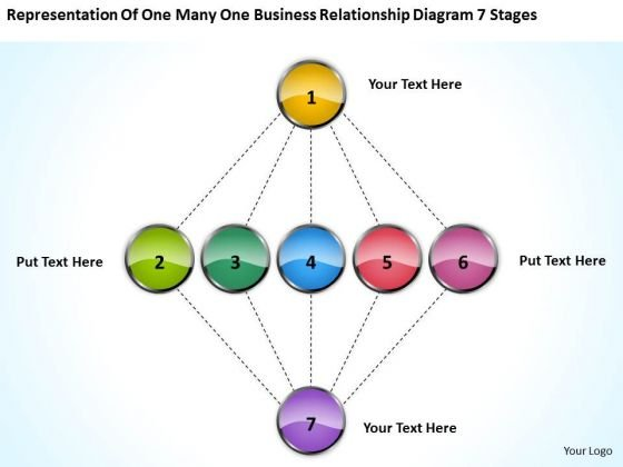 One Many Business Relationship Diagram 7 Stages Businessplans PowerPoint Templates