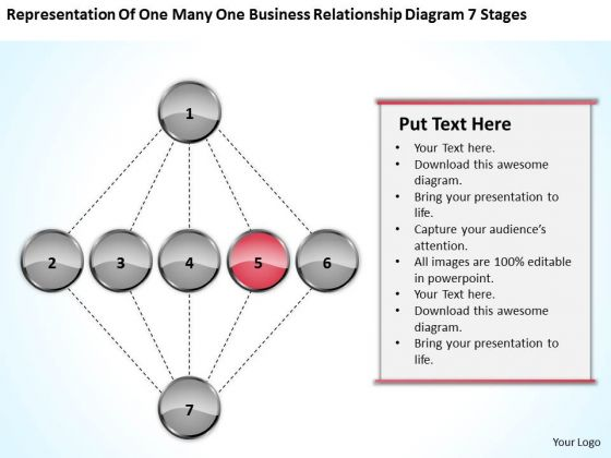 One Many Business Relationship Diagram 7 Stages Plan For PowerPoint Slides