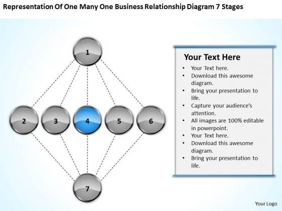 One Many Business Relationship Diagram 7 Stages Ppt 4 Plan Steps PowerPoint Templates