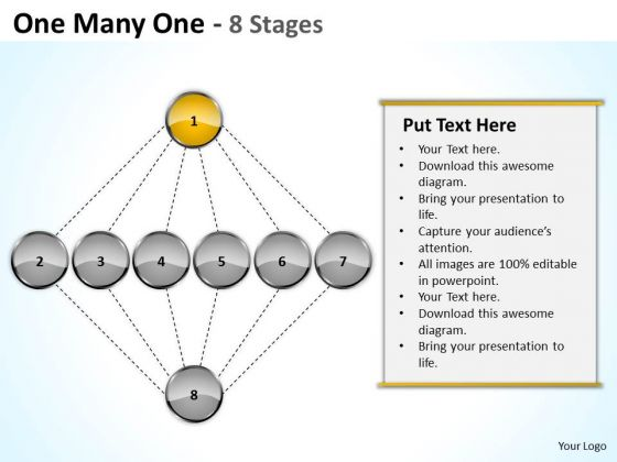 One Many Stages Sales Marketing Theme Ppt Business Plan Formats PowerPoint Templates