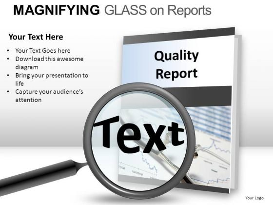 Optical Magnifying Glass On Report PowerPoint Slides And Ppt Diagram Templates