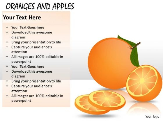 Oranges And Apples PowerPoint Graphics And Ppt Editable Slides Clipart