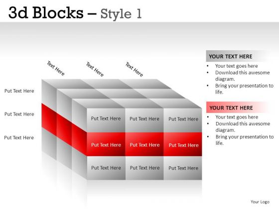 Organization 3d Blocks 1 PowerPoint Slides And Ppt Diagram Templates