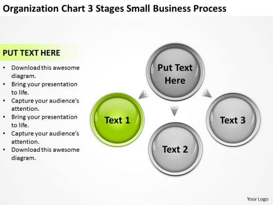 Organization Chart 3 Stages Small Business Process Ppt Template PowerPoint Slides