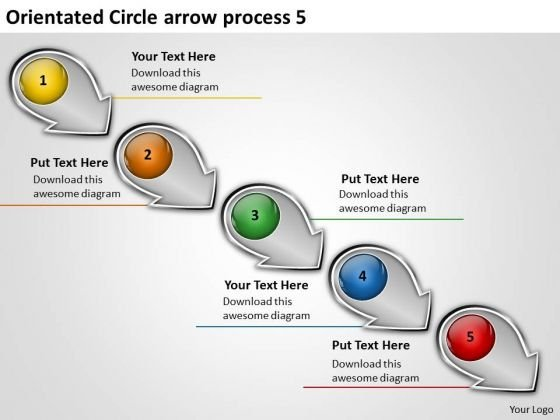Orientated Circle Arrow Process 5 Sample Flow Charts PowerPoint Slides