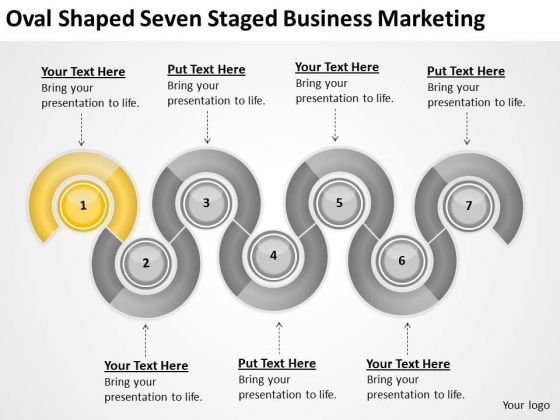 Oval Shaped Seven Staged Business Marketing Ppt Music Plan PowerPoint Templates