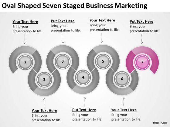 Oval Shaped Seven Staged Business Marketing Ppt Plan Sample PowerPoint Slides