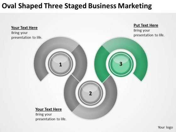 Oval Shaped Three Staged Business Marketing Action Plan PowerPoint Slides