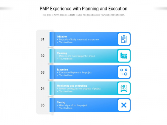 PMP Experience With Planning And Execution Ppt PowerPoint Presentation Styles Clipart Images PDF