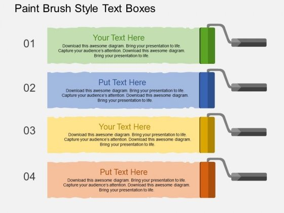 Paint Brush Style Text Boxes Powerpoint Templates