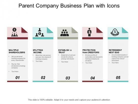 Parent Company Business Plan With Icons Ppt PowerPoint Presentation Summary Graphics Template