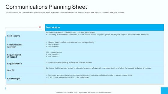 Partner Engagement Strategy Initiative Communications Planning Sheet Download PDF