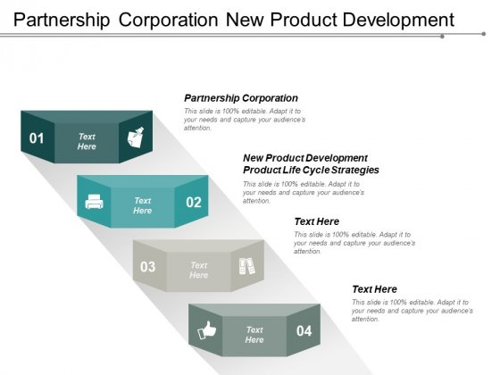 Partnership Corporation New Product Development Product Life Cycle Strategies Ppt PowerPoint Presentation Ideas Influencers