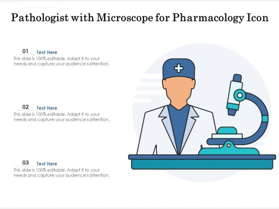 Pathologist With Microscope For Pharmacology Icon Ppt PowerPoint Presentation Model Examples PDF