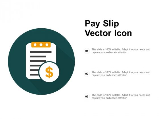 Pay Slip Vector Icon Ppt PowerPoint Presentation File Objects