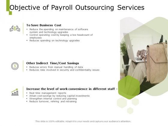 Paysheet Offshoring Company Objective Of Payroll Outsourcing Services Ppt Slides Design Ideas PDF