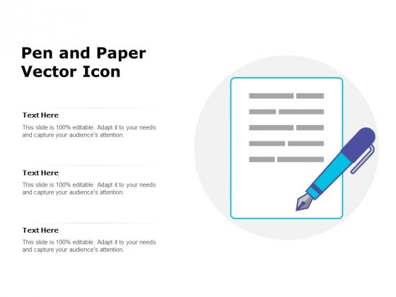 Pen And Paper Vector Icon Ppt PowerPoint Presentation Infographics Visuals PDF