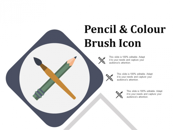 Pencil And Colour Brush Icon Ppt PowerPoint Presentation Summary Master Slide
