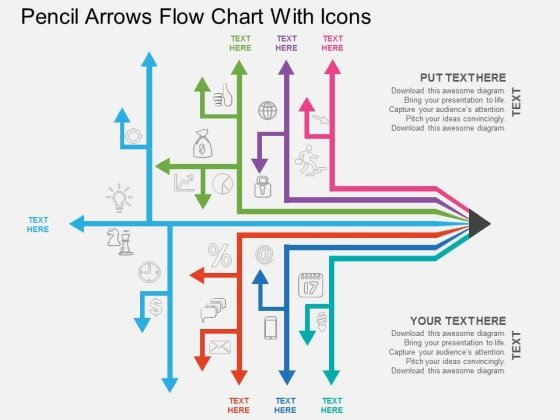 Pencil Arrows Flow Chart With Icons Powerpoint Template