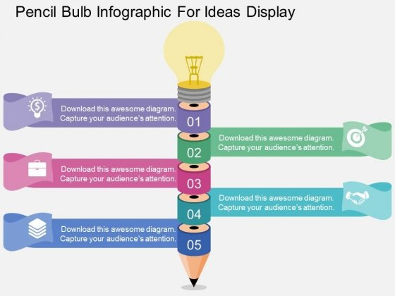 Pencil Bulb Infographic For Ideas Display Powerpoint Templates