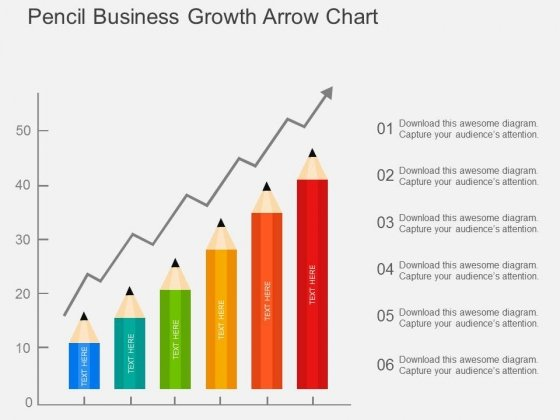 Pencil Business Growth Arrow Chart Powerpoint Template