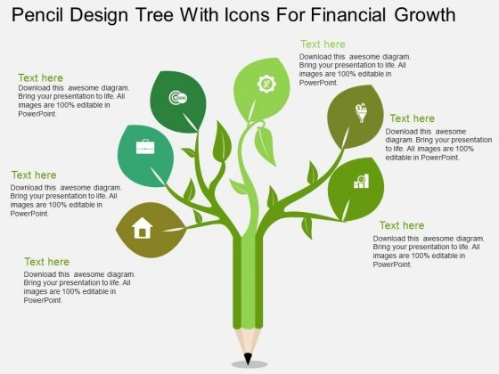 Pencil Design Tree With Icons For Financial Growth Powerpoint Template