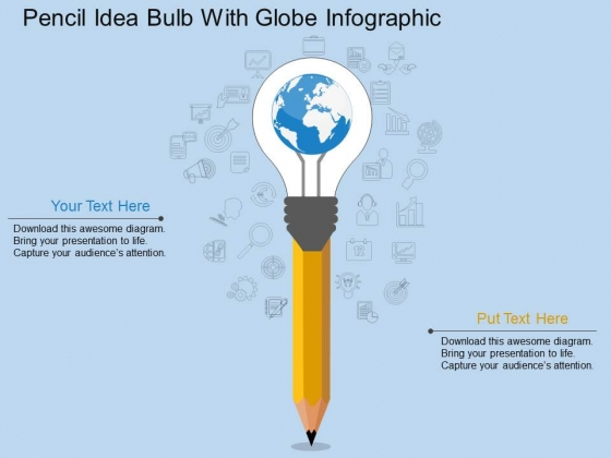 Pencil Idea Bulb With Globe Infographic Powerpoint Template