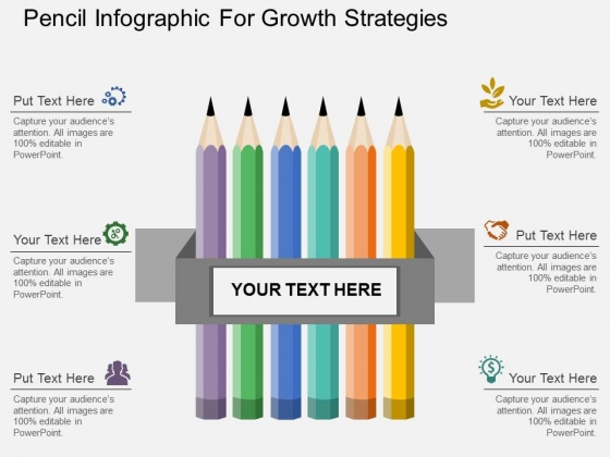 Pencil Infographic For Growth Strategies Powerpoint Template