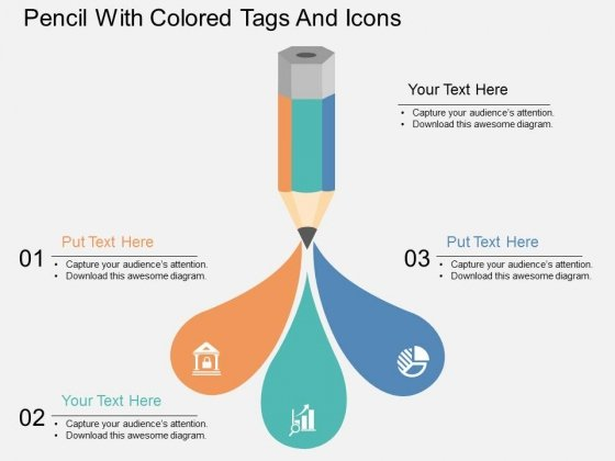 Pencil With Colored Tags And Icons Powerpoint Template