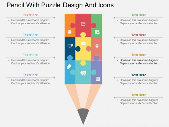 Pencil With Puzzle Design And Icons Powerpoint Template
