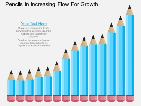 Pencils In Incresaing Flow For Growth Powerpoint Template
