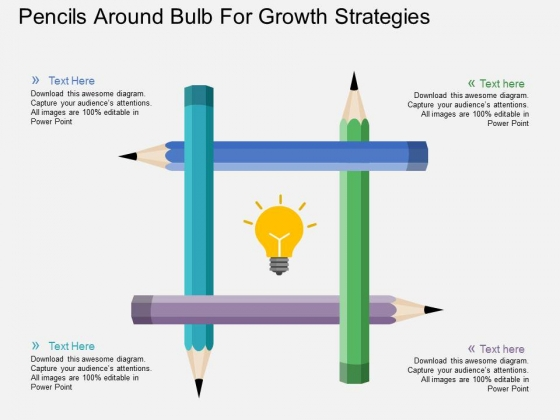 Pencils Round Bulb For Growth Strategies Powerpoint Template