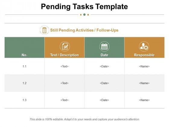 Pending Tasks Template Ppt PowerPoint Presentation Summary Ideas
