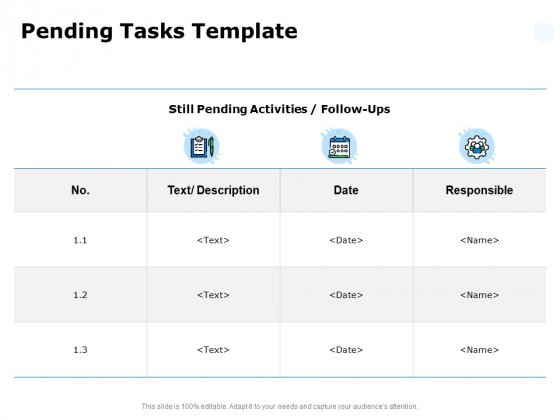 Pending Tasks Template Ppt PowerPoint Presentation Summary Slide