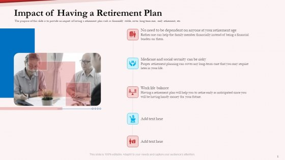 Pension Plan Impact Of Having A Retirement Plan Ppt Infographic Template Background Designs PDF