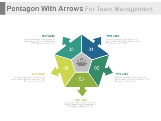 Pentagon With Arrows With Team Icon Powerpoint Template