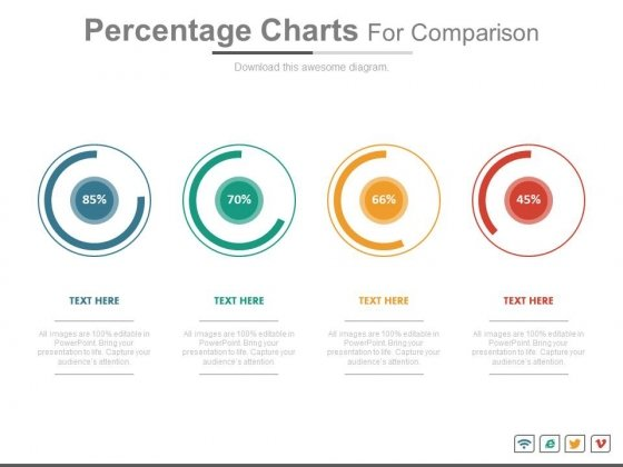 Percentage Charts For Statistical Comparison Powerpoint Slides