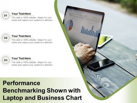 Performance Benchmarking Shown With Laptop And Business Chart Ppt PowerPoint Presentation Slides Maker PDF