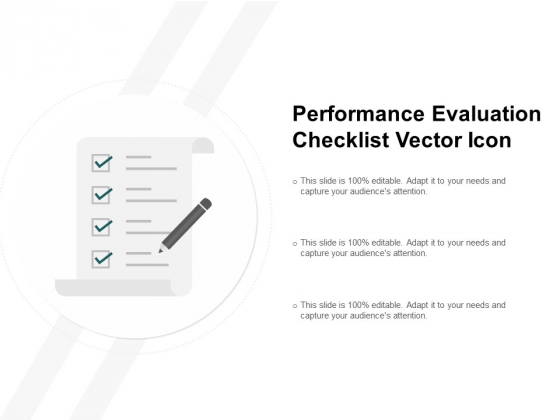 Performance Evaluation Checklist Vector Icon Ppt PowerPoint Presentation Infographics Gridlines