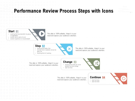 Performance Review Process Steps With Icons Ppt PowerPoint Presentation Portfolio Background Images