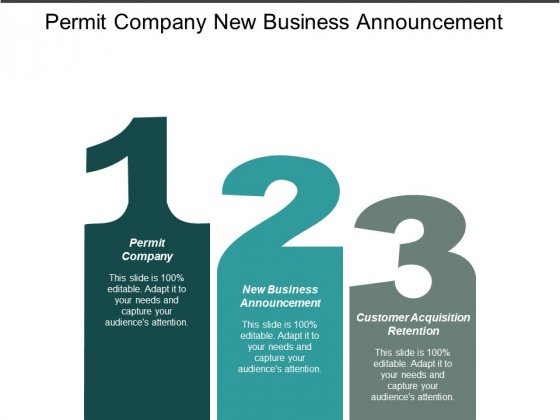 Permit Company New Business Announcement Customer Acquisition Retention Ppt PowerPoint Presentation Styles Example