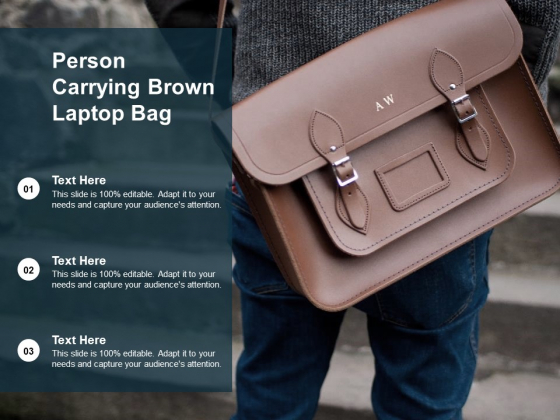 Person Carrying Brown Laptop Bag Ppt Powerpoint Presentation Model Background Image