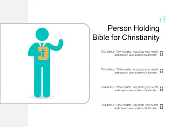 Person Holding Bible For Christianity Ppt Powerpoint Presentation Outline Gridlines